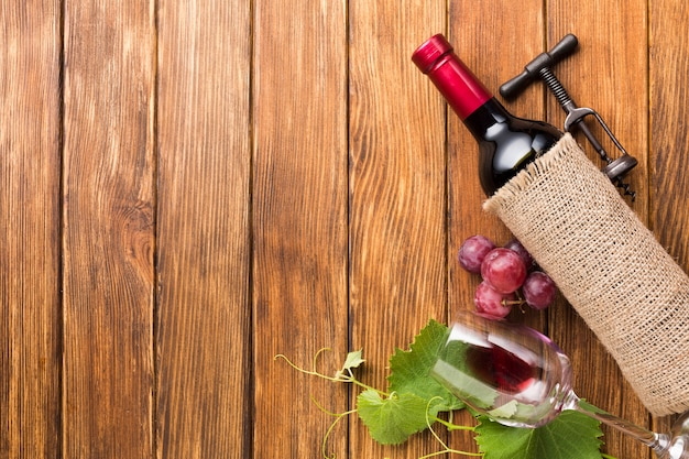 Cloth cover for red wine with copy space