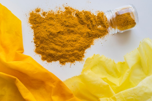 Cloth pigmented with yellow dye