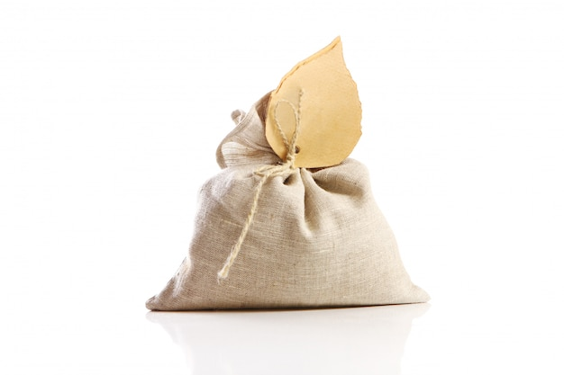 Cloth sack on white