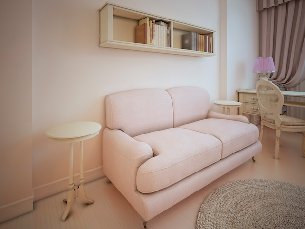 Cloth sofa in light room with antique furniture in provence style