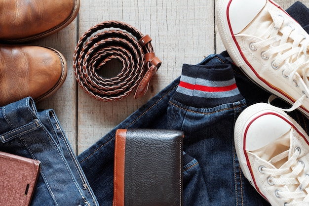 Clothes and accessories on wooden.
