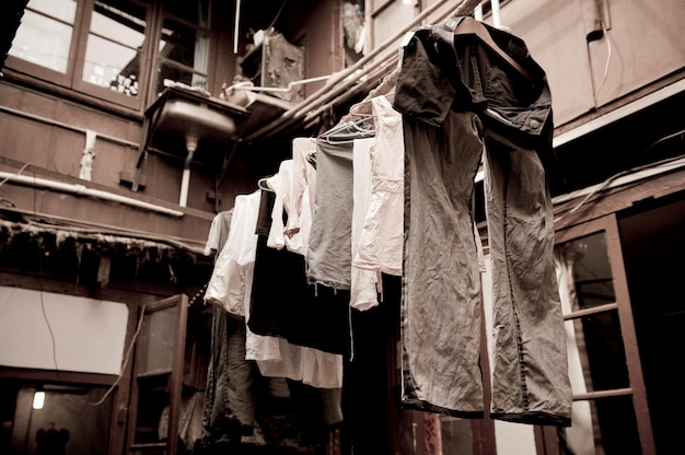 Clothes drying on a clothesline, shanghai, china