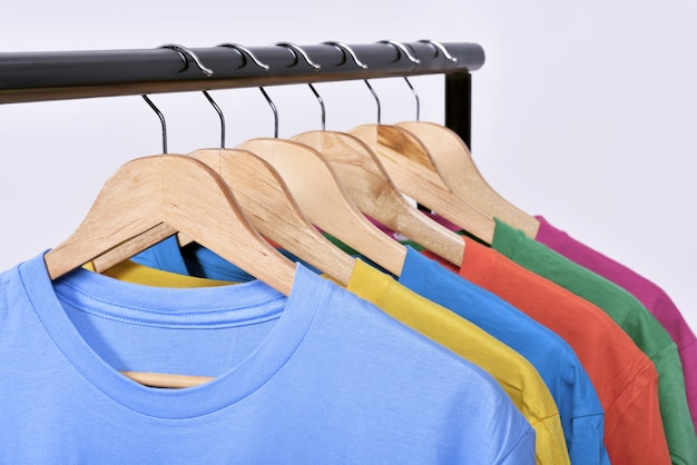 Clothes hang on a shelf after washing