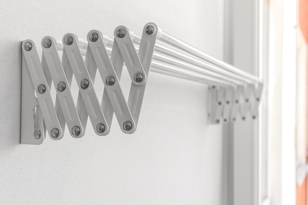 Clothes hanger on balcony in the modern apartment