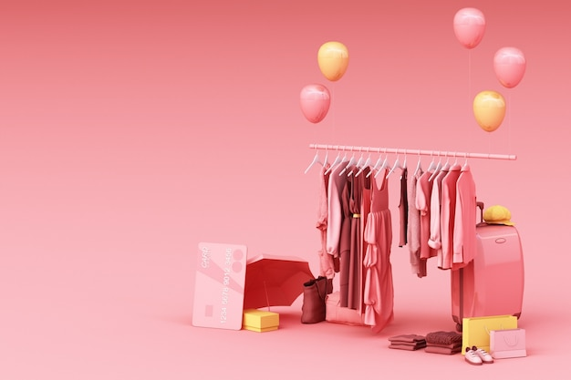 Clothes on a hanger surrounding by bag and market prop with credit card on the floor 3d rendering
