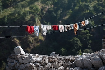 Clothes line in country side