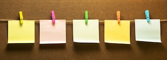 Clothes line note paper hanging horizontal