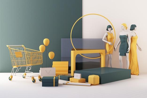 洋服のマネキンは、黄色と緑色の床に幾何学的な形をしたバッグとマーケットプロップに囲まれたハンガーです。 3dレンダリング