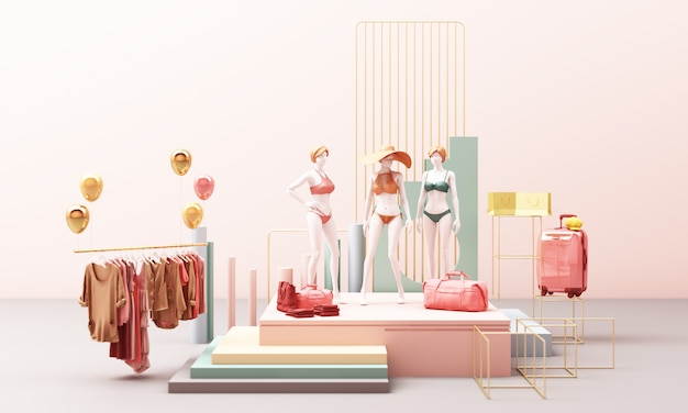Манекен для одежды на вешалке, окруженной сумкой и рыночной опорой с геометрической формой в пастельных тонах, 3d-рендеринг