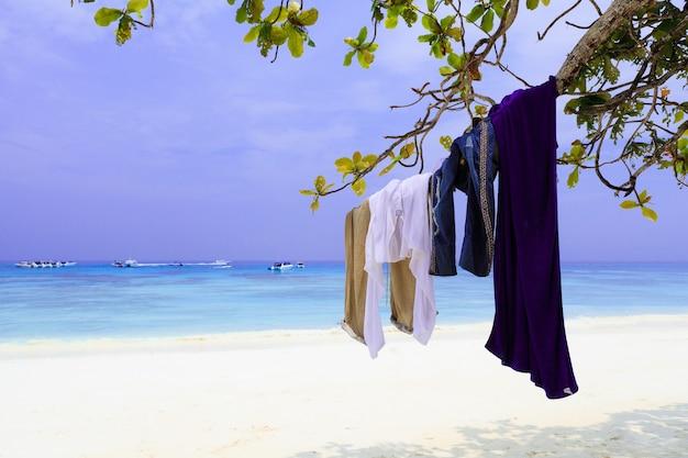 Туристическая одежда висит на ветке дерева, пляж на юге таиланда
