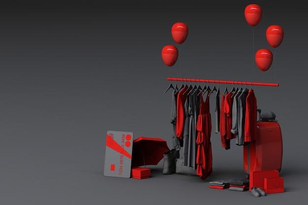 床にクレジットカードが付いたバッグと市場の小道具に囲まれたハンガーの服。 3dレンダリング