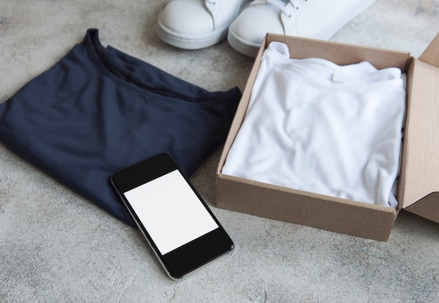 Clothes in an open cardboard box
