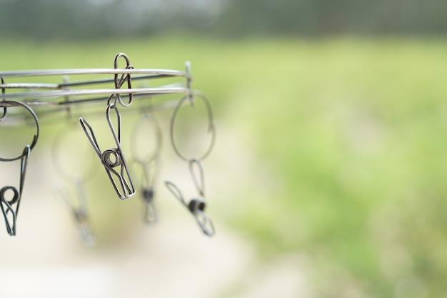 緑豊かな庭園での衣服止め釘 Premium写真