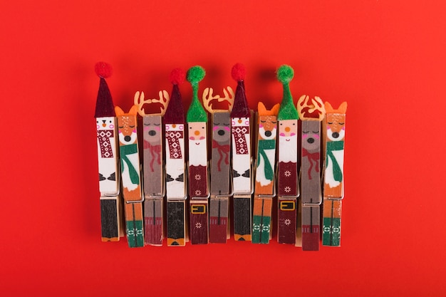 Clothes pegs decorated for christmas