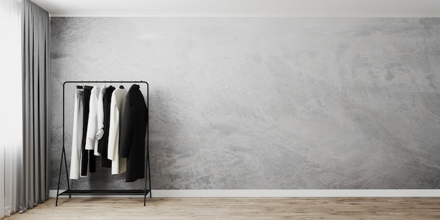 Вешалка для одежды с серой пустой стеной возле окна с серой занавеской, вешалка для одежды, 3d-рендеринг