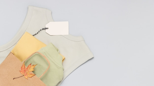 Clothes in the shopping paper bag with empty price tag