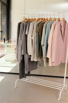 Clothes store with rack of clothes