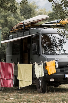 Clothesline near the campervan