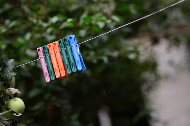 Clothespins on a rope hanging outdoors