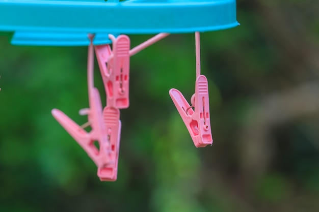 Clothespins on a washing line