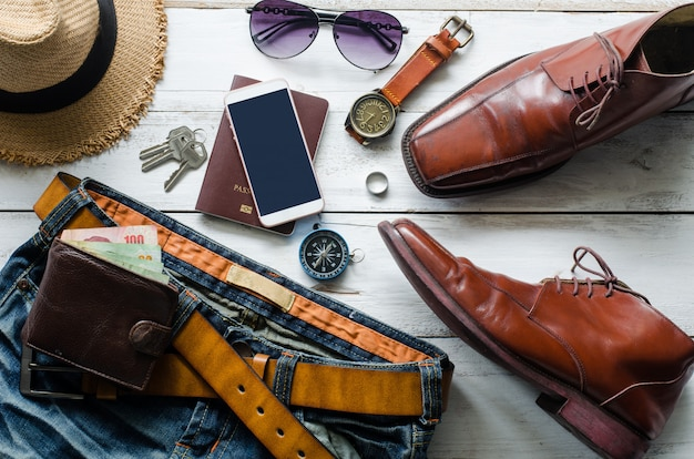 Clothing and accessories for men on the wooden floor