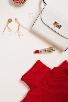 Clothing and cosmetics blogger for valentine's day. copy space. top view
