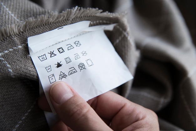 Clothing label with laundry care instructions