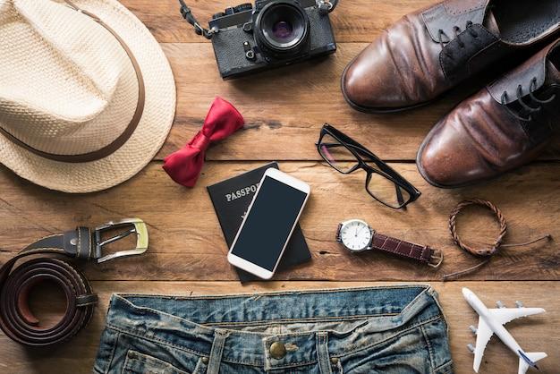 Clothing for men on the white wooden floor