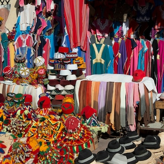 Clothing shop display in medina, marrakesh, morocco