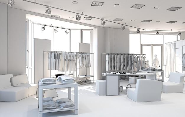 Clothing store interior visualization illustration