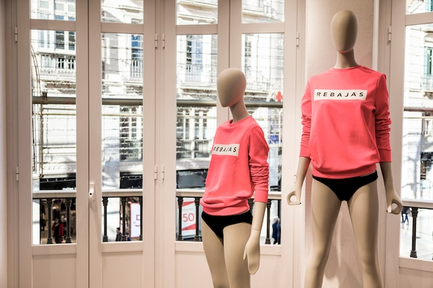 Clothing store with mannequins