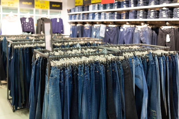 Clothing store with a wide selection of trousers