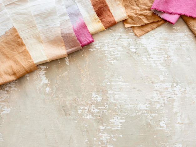 Cloths made with different natural pigments