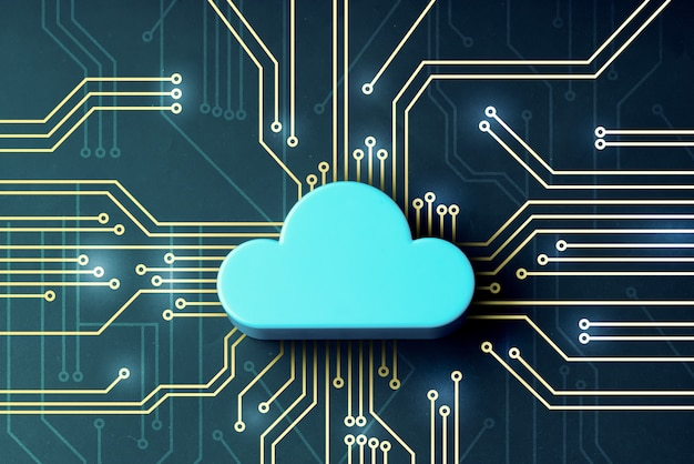 Cloud  on abstract background mainboard  illustration