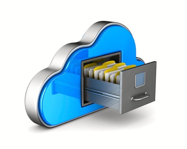 구름과 흰색 바탕에 서류 캐비넷입니다. 격리 된 3d 그림