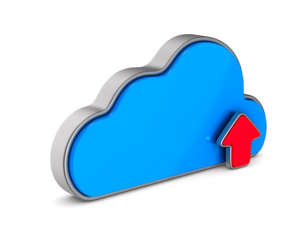 Cloud and arrows on white background. isolated 3d illustration