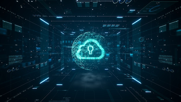 クラウドコンピューティングとビッグデータの概念。デジタルデータと未来の情報の5g接続。モノの抽象的な高速インターネットiotビッグデータクラウドコンピューティング。