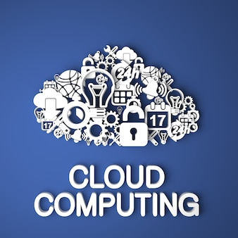 Cloud computing card handmade from paper characters on blue background