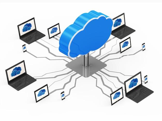 Концепция облачных вычислений с ноутбуком, планшетным пк и смартфоном изолированы