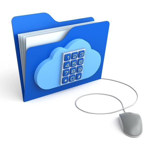 컴퓨터 마우스가 있는 보안 버튼이 있는 클라우드 컴퓨팅 폴더