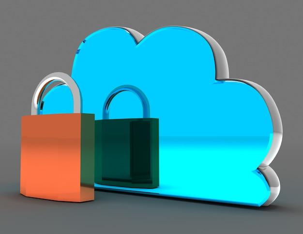 클라우드 컴퓨팅 보안 개념. 3d 렌더링 된 그림