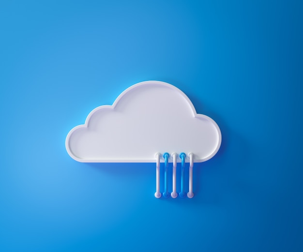 클라우드 컴퓨팅 서비스, 클라우드 데이터 스토리지 기술 호스팅 개념 흰색 구름 파란색 케이블