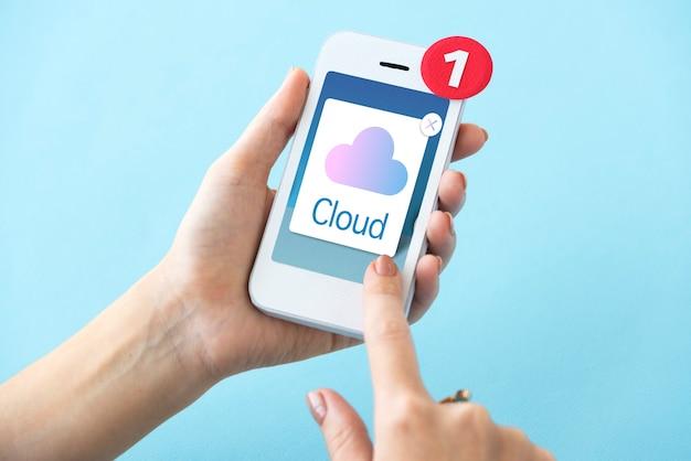Cloud computing storage icon concept