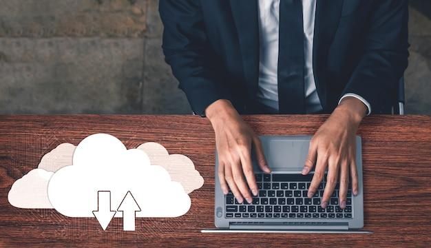 ビジネスネットワークコンセプトのためのクラウドコンピューティングテクノロジーとオンラインデータストレージ。