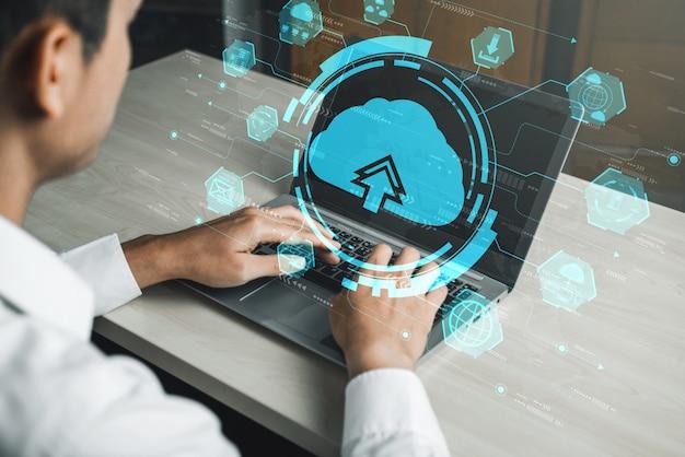비즈니스 네트워크 개념에 대한 클라우드 컴퓨팅 기술 및 온라인 데이터 스토리지.