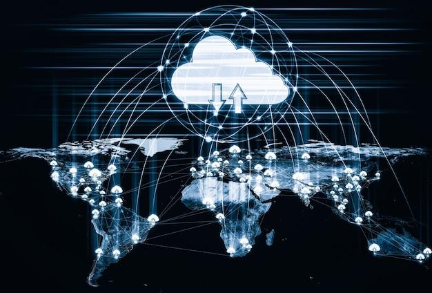 Технологии облачных вычислений и онлайн-хранилище данных в инновационном восприятии Premium Фотографии