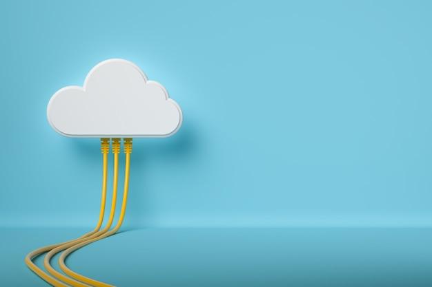 クラウドコンピューティング技術の概念の背景、白いクラウドはネットワークケーブルで接続、3dレンダリング。