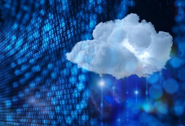 Концепция технологии облачных вычислений с 3d-рендерингом облака с цифровым подключением