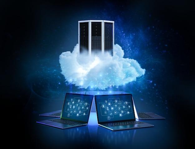 Концепция технологии облачных вычислений с облаком 3d-рендеринга с сервером и компьютерными ноутбуками