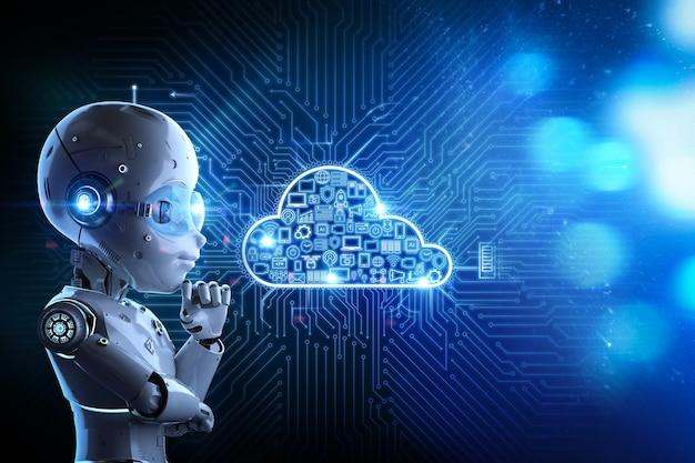 Концепция технологии облачных вычислений с 3d-рендерингом симпатичного робота и графического дисплея
